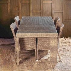 Outdoor dining set, garden patio furniture, aluminum frame, rattan woven, UV-resistant from China