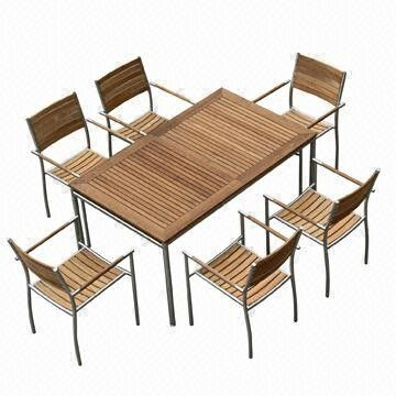 Outdoor Dining Table Sets, Rectangle, Extendable with #304 Stainless Steel, Teak Furniture from China