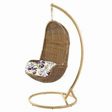 Rattan Hanging Swing with Iron Frame from China