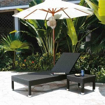 Outdoor sun chaise lounge chair with PE rattan wicker,UV resistance-garden/hotel furniture from China