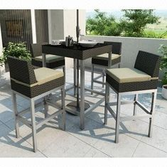 Outdoor Rattan Furniture/5-piece Rattan Bar Set with KD Design, 5cm Cushion from China