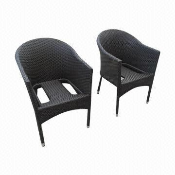 Outdoor Furniture, stack rattan chair with a 5cm cushion from China