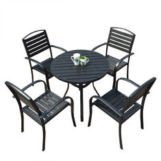 Anti Rust H78cm W61cm Chair Outdoor Pub Table Set Comfortable