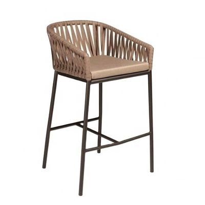 Comfortable 1050mm Height 560mm Width Rattan Wicker Bar Stools For Hotel