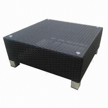 Outdoor Furniture Rattan Ottoman Or Coffee Table W/electroplated Aluminum  Feet Decorated