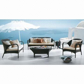 Outdoor Wicker Sofa Set, Made of Aluminum + PE Rattan