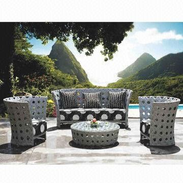 Outdoor Wicker Sofa Sets for Hotel/Lobby/Garden Use, w/ Aluminum Frame, UV Resistance, Rat