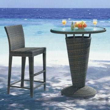 Rattan bar table set, garden outdoor/hotel/restaurant/club use, aluminum frame, UV-resist