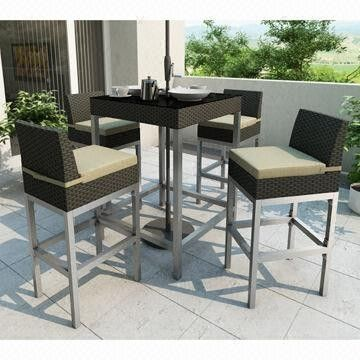 Outdoor Rattan Furniture/5-piece Rattan Bar Set with KD Design, 5cm Cushion